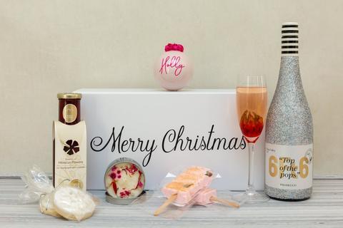 glittered prosecco bottle gift pack